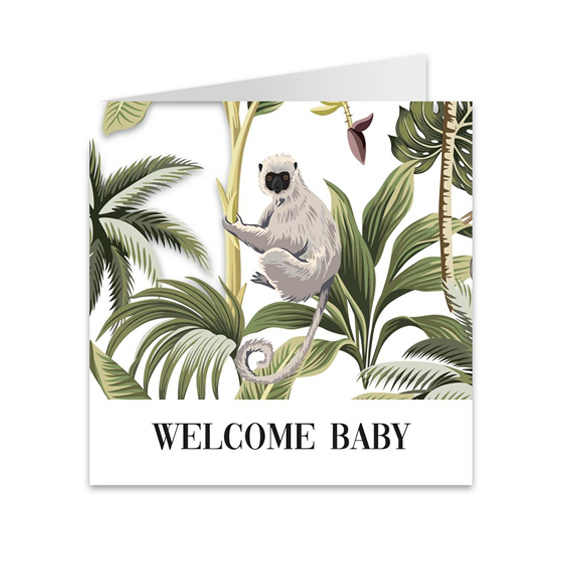 Wenskaart jungle 'Welcome baby'