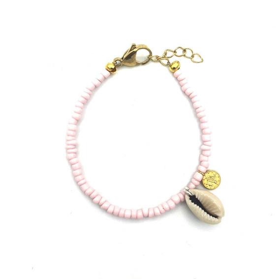 Armbandje 'Shell coins' pink