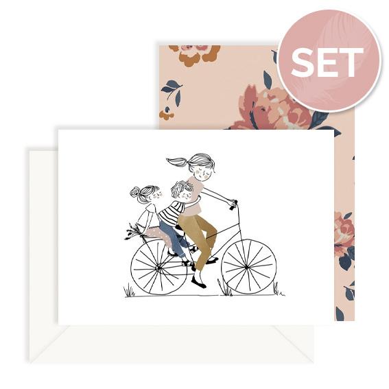 Set kaarten 'Flower mom' (2 st.)
