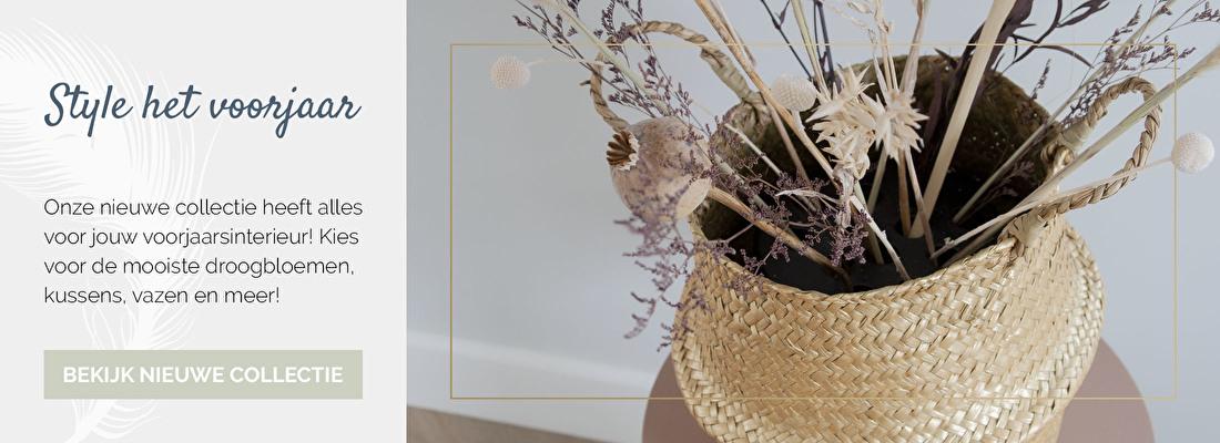 Droogbloemenwinkel, droogbloemen kopen, voorjaarsinterieur, voorjaarscollectie woonaccessoires, voorjaarstrends | Nanaa's