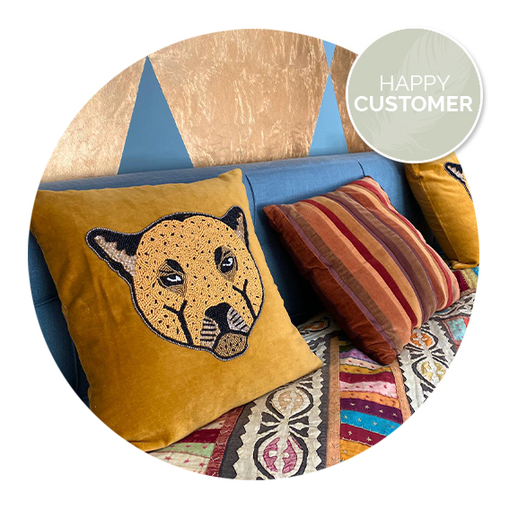 Nanaa's happy customers, A la Collection leopard velvet cushion | Nanaa's