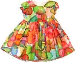 Prachig gebloemd feestjurkje met bolero en losse petticoat