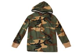 Jongens sweater met capuchon in legerlook
