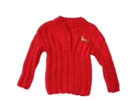 Comfortabele jongens trui in rood met speld