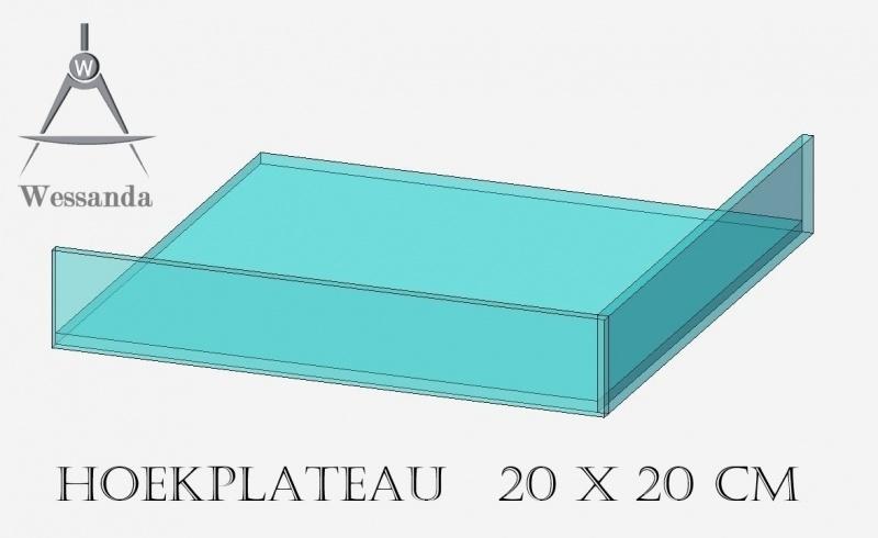 Hoekplateau 20x20x3,5cm
