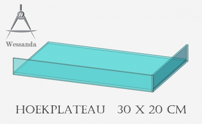 Hoekplateau 20x30x3,5cm Versie A