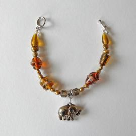 Armband van gele Murano glaskralen en gouden zoetwaterparels (20 cm lang)
