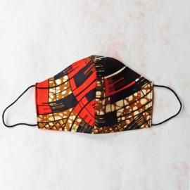 Oranje-zwart-bruin mondkapje (double face) met zwart elastiek