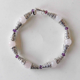 Armband met facet-geslepen rozenkwarts (20 cm)