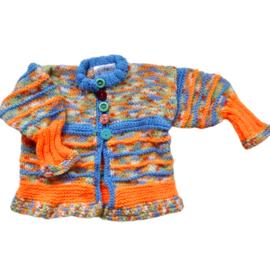Gebreid jasje in rood-wit-blauw met oranje in maat 62