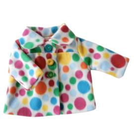 Zacht jasje van fleece met gekleurde bollen in maat 56-62