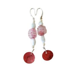 Muranoglas en parelmoer in roze en wit (8 cm lang)