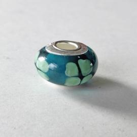 Muranoglas en zilver in blauw met groen