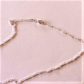 Zilveren ketting met kleine en grote schakels (42,5 cm)