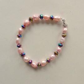 Armband + oorbellen van grote roze zoetwaterparels met kristal (19 cm lang)