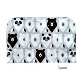 Grijze onderlegger met witte en zwarte beren