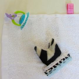 Witte knuffeldoek met zwartwit kopje (excl. speentje)
