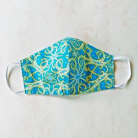 Blauw met goud mondkapje (double face) met wit elastiek