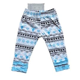Broekje van zacht tricot katoen met blauw en grijs in maat 62-68