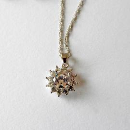 Dunne zilveren ketting met hanger van kristal met strass (wijdte 46 cm)