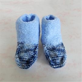 Gebreide blauwe sokjes (maat 62-68)