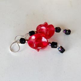 Nieuw: Roze-rode kraal van acryl met lavasteen en kristal (superlichtgewicht)