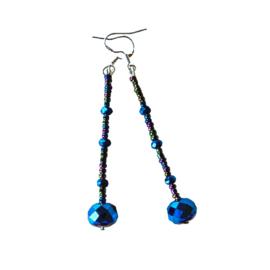 Lange oorbellen met blauw kristal