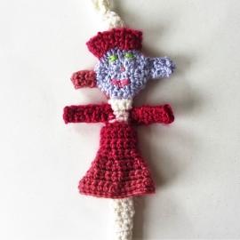 Crème speenkoord met vrouwtje en rode houten clip (lang)