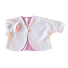 Jasje van witte fleece gevoerd met roze satijn (maat 68-74)