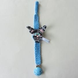 Blauw speenkoord met konijnenkopje (lengte 35 cm) met houten clip