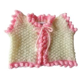 Topje in crème met roze maat 68