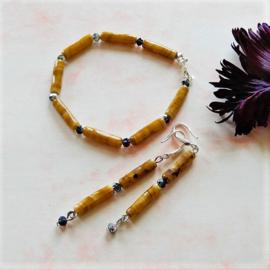 Armband + oorbellen van agaat met kristallen (19 cm)