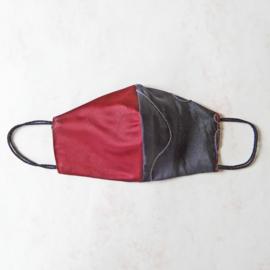 Antracietgrijs/donkerrood mondkapje (double face) met zwart elastiek
