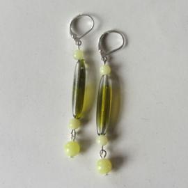 Groen glazen staafje met gele kwarts (superlicht)