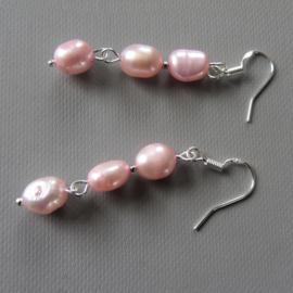 Roze zoetwaterparels met zilver