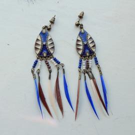Helblauwe Afrikaanse oorbellen met heel kleine veertjes (9 cm lang)