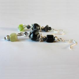 Obsidiaan met onyx, groene kwarts en kristal