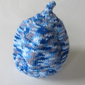 Gebreide blauwe muts (1-2 jaar)