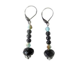 Zwarte kristal met onyx en Oostenrijks kristal