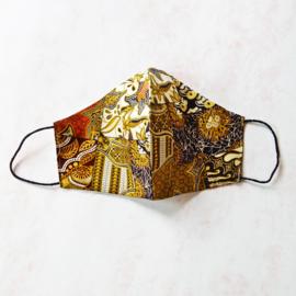 Beige-bruin-goud mondkapje (double face) met dun zwart elastiek