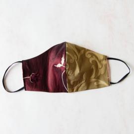 Donkerrood/goud mondkapje met zwart elastiek