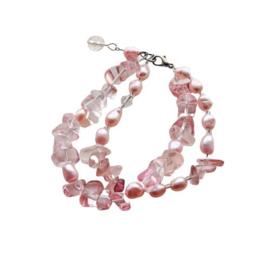 Armband met 2 strengen roze kwarts en roze zoetwaterparels (19 cm lang)