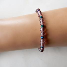 Armband van glaskralen met kristal (18,5 cm)