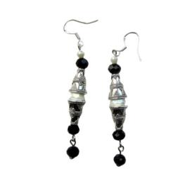 Tibetaans zilver met witte en zwarte kristallen