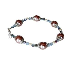 Armband van oud-roze parelkralen met grijze kristallen (20,5 cm)