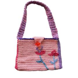 Gehaakte tas in roze en lila (17 x 13)