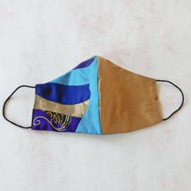 Patchwork/goud-zijde mondkapje (double face) met dun zwart elastiek