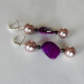 Parelmoer in paars met roze parels en kristal (6 cm lang)