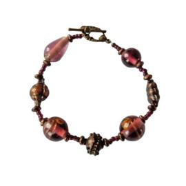 Barokke armband van glas en brons (21 cm lang)