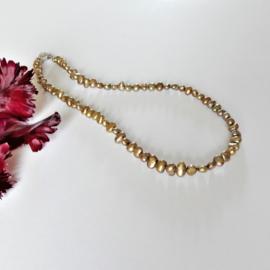 Halsketting van goudkleurige zoetwaterparels (46 cm)